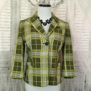 Banana Republic Size 4 Green Plaid Button Blazer